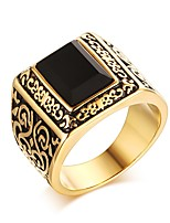 Ring Unique Design Titanium Steel Square Black Jewelry For Daily 1pc