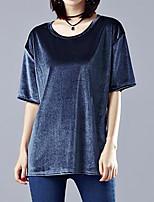 Feminino Camiseta Casual Tamanhos Grandes Simples Verão,Sólido Poliéster Decote Redondo Manga Curta Média