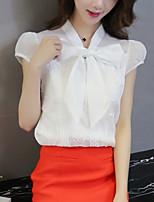 Sign 2016 summer new Korean women loose short-sleeved chiffon bow blouse shirt female