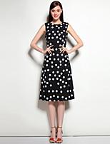 Для женщин На выход На каждый день Офис Богемный Оболочка Платье Горошек Цветочный принт,Круглый вырез Средней длины Без рукавовПолиэстер