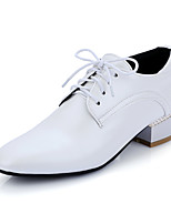 Women's Heels Spring Summer Fall Winter Club Shoes PU Office & Career Dress Casual Chunky Heel Block Heel Lace-up White Silver Dark Grey