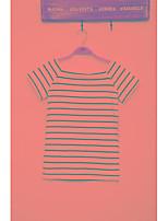 Han molde real tiro 2017 verão nova moda slim korean listrado gola de manga curta t-shirt mulheres