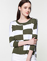 Women's Casual/Daily Short Cardigan,Striped Round Neck Long Sleeve Rayon Nylon Spring Thin Micro-elastic
