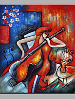 Hand-Painted Abstract The Woman Of The Cello Modern One Panel Canvas Oil Painting For Home Decoration