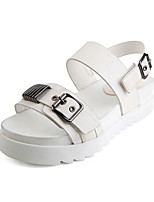Women's Sandals Summer Mary Jane Leatherette Outdoor Dress Casual Flat Heel Buckle Metallic toe Walking