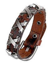 Men's Couple's Leather Bracelet Natural Leather Rectangle Jewelry For Birthday Gift Sports 1pc