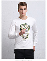Men's Casual/Daily Simple Sweatshirt Print Round Neck Micro-elastic Cotton Long Sleeve Fall