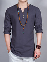 Masculino Camiseta Casual Simples Primavera,Sólido Raiom Colarinho Clerical Manga Longa Fina