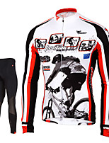 TASDAN® Maillot de Ciclismo con Mallas Hombres Mangas largas BicicletaTranspirable / Secado rápido / Cremallera delantera / Compresión /