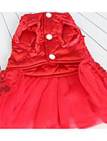 Собаки Платья Одежда для собак Лето Принцесса Милые Мода На каждый день Красный