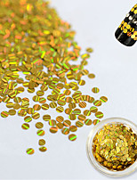 1 Bottle Fashion Gold Laser Glitter Stripe Round Paillette Beautiful Nail DIY Beauty Glitter Decoration Nail Shiny Thin Slice Nail Beauty TW16