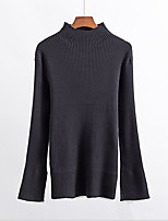 Women's Casual/Daily Regular Pullover,Solid Turtleneck Long Sleeve Acrylic Fall Medium Micro-elastic