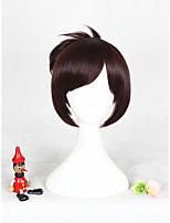 12inches courtes, rouge, marron, sureté, mei, synthétique, cosplay, perruque, cs-302b