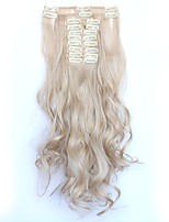 12pcs/Set 150g  Medium Blonde Wavy Hair Extension Clip In Synthetic Hair Extensions