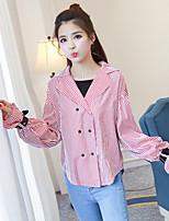 Spring new female Korean yards shirt loose blouse wild lapel speaker sleeve shirt real shot