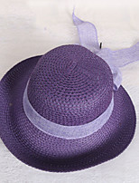 Women 's Summer Bow Knot Ribbon Hat Curling Beach Crimping Straw Fisherman's Hat