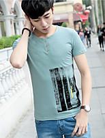 Sign half-sleeved men's 2017 summer new men's short-sleeved printed cotton T-shirt Slim