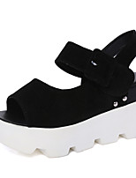 Women's Sandals Summer Creepers Fleece Outdoor Dress Casual Flat Heel Buckle Walking