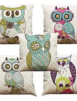 Set of 5 Big Eyes Owl Pattern  Linen Pillowcase Sofa Home Decor Cushion Cover (18*18inch)