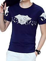 Men's Plus Size Casual/Daily Beach Simple Street chic Active Summer T-shirt,Solid Print Round Neck Short Sleeve Cotton Thin Medium