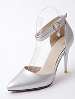 Damen-Sandalen-Büro Kleid Party & Festivität-Mikrofaser-Stöckelabsatz-Club-Schuhe-Gold Schwarz Silber