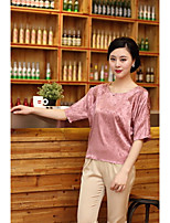 Women's Going out Casual/Daily Simple Spring Summer T-shirt,Solid Round Neck ½ Length Sleeve Silk Medium