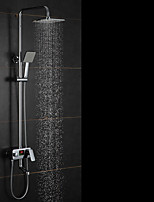 High Quality Fashion Brass LED Intelligent Digital Display Temperature Shower Faucet Suit - Silver