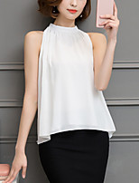 Women's Work Sexy Summer Fashion OL Blouse Solid Off Shoulder Sleeveless Polyester White /Black Thin