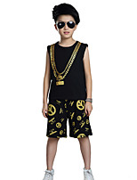 Jazz Outfits Kid's For Boys For Girls Children's Performance Cotton Pattern/Print Splicing 2 Pieces Sleeveless Natural Top Shorts Dance Costume
