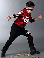 Jazz Outfits Kid's For Boys For Girls Children's Performance Cotton Pattern/Print Splicing 2 Pieces Long Sleeve Natural Top Pants Dance Costume