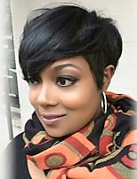 Natural Partial Fringe Black Short Hair Human Hair Wig