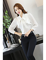 Women's Casual/Daily Simple Spring T-shirt,Solid V Neck Long Sleeve Polyester Medium