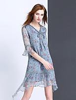 Для женщин На выход На каждый день Праздник Очаровательный Прямое Платье Цветочный принт,V-образный вырез Выше колена Рукав ½ Шёлк ЛетоСо