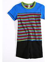 Мальчики Наборы На каждый день Хлопок Контрастных цветов Лето С короткими рукавами Набор одежды