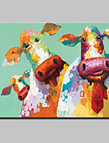 Hand Painted Cartoon Cow Oil Painting On Canvas Modern Abstract Wall Art Picture For Home Decoration Ready To Hang