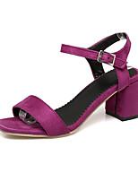 Women's Sandals Spring Summer Light Soles Leatherette Casual Chunky Heel Block Heel Black Purple Red Green