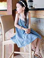 Girl's Solid Dress,Cotton Summer Sleeveless