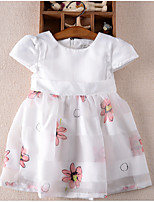 Girl's Solid Floral Dress,Cotton Summer Short Sleeve