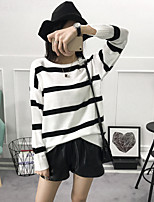 Women's Going out Simple Spring Fall T-shirt,Striped Round Neck Long Sleeve Cotton Thin