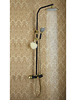 Antique Shower System Rain Shower Floor Standing with  Ceramic Valve Two Handles Three Holes for  Ti-PVD , Shower Faucet
