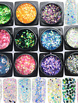 11bottle/set Colorful 3D Glitter Fish Scale Slice Nail Art Glitter Mermaid Hexagon Paillette Decoration Nail Beauty Colorful Design LP01-11