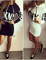 2015 Autumn printing Slim Hooded Dress