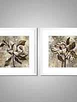 Impresiones  Enmarcadas En Lienzo Abstracto Floral/Botánico Tradicional Realismo,Dos Paneles Lienzos Cuadrado lámina Decoración de pared
