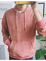 Men's Casual/Daily Hoodie Solid Crew Neck Inelastic Cotton Long Sleeve Fall