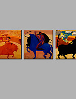 Hand-Painted Abstract The Bull  Modern Three Panels Canvas Oil Painting For Home Decoration