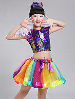 Jazz Outfits Kid's Performance Spandex Polyester Tulle Feathers Paillettes Lace 3 Pieces Sleeveless Natural Top Skirt Headpieces Girl's Dance Costume