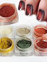 6box Fashion Cat Eye Styles Magic Mirror Effect Nail Art Glitter Pigment 3D Shinning Fine UV Gel Polish Powder