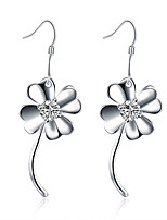 Classic Silver Plated Clear Crystal Clover Dangle Earrings for Party Women Jewelry Accessiories
