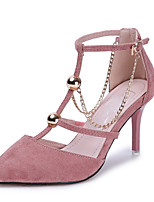 Women's Heels Spring Summer Fall T-Strap PU Office & Career Party & Evening Dress Stiletto Heel Chain