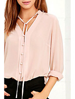 Women's Casual/Daily Simple Spring Fall Blouse,Solid V Neck Long Sleeve Nylon Medium